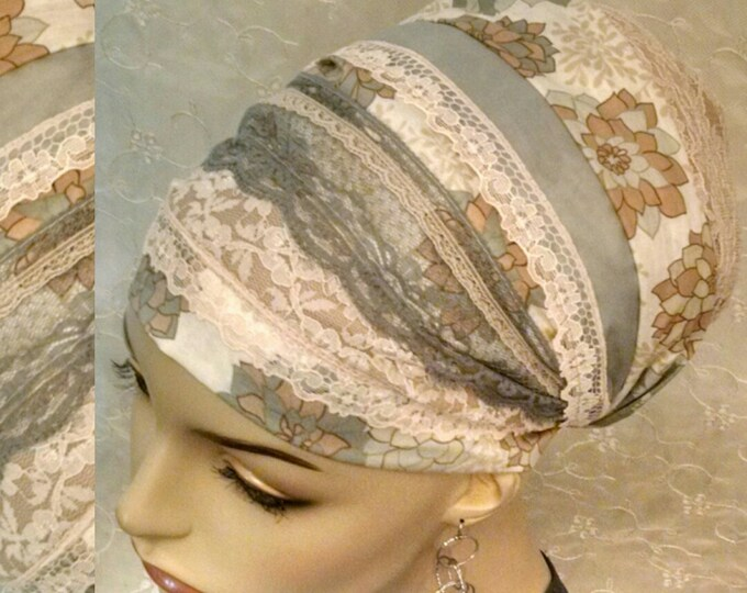 Featured listing image: Lovely cotton and lace sinar tichel, head scarf, hair wrap, head wrap, Jewish hair covering, alopecia, chemo, apron tichel