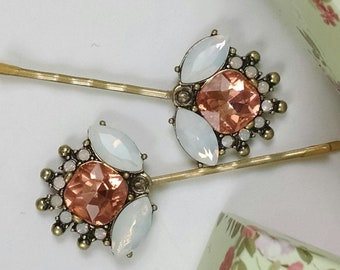 Peach flower tichel and hair pin, wedding hair pin, Decorative bobby pin, Decorative hair clip, hair accessories, betet pin, gift, jewelry