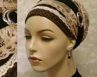 A touch of sparkle sinar tichel, tichels, head scarf, Jewish hair covering, head wrap, hair snood, alopecia, weddings, chemo, head covering