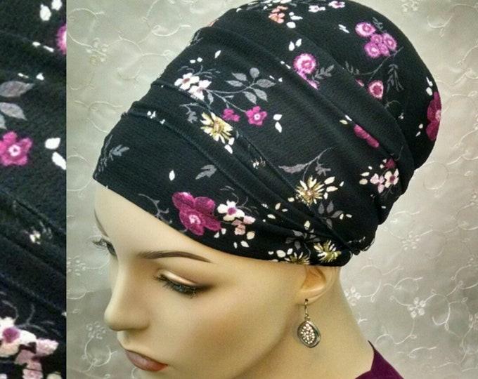 Featured listing image: Fuschia berry floral sinar tichel, head scarf, head wrap, hair scarf, Jewish bridal shower, hair snood, head covering, alopecia, pink