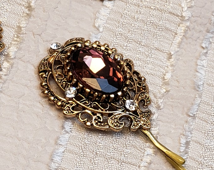 Featured listing image: Romantic burgundy tichel and hair pin, wedding hair pin, head scarf pin, Decorative bobby pin, Decorative hair pin, hair accessories, gift