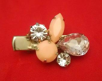 Peach multigem tichel/scarf clip, hair accessories, scarf accessories, hair jewelry