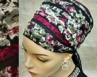 Romantic lace and cotton sinar tichel, head covering, hair snood, head wrap, hair covering, Jewish head scarf, alopecia, wedding