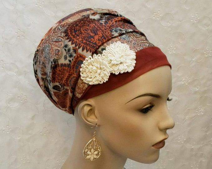 Featured listing image: Rust floral and paisley sinar tichel, Jewish hair covering, accessories, hair accessories, apron head scarf, apron tichel, hair snood, gift