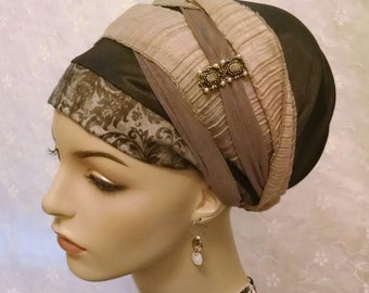 Fabulous taupe wrap twice sinar tichel, head wrap, head scarf, Jewish hair covering, head covering, hair snood, accessories, gift, hair pin