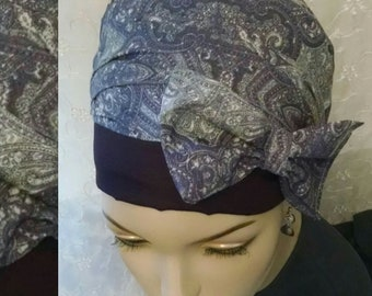 Classic bow sinar tichel, head scarf, head wrap, hair snood, Jewish hair covering, apron head scarf, cotton