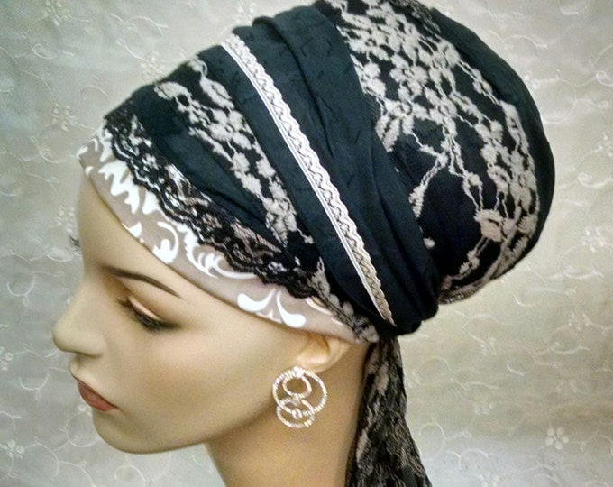 Featured listing image: Exquisite lacey and cotton sinar tichel, tichels, head wrap, heaf scarf, hair snood, hair covering, alopecia, Shabbat, wedding, Jewish