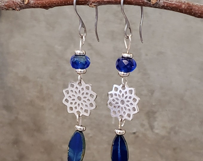 Featured listing image: Blue beauty elegant drop earrings with stainless steel ear wires, jewelry for her, jewelry gift, blue jewelry, hypoallergenic earrings