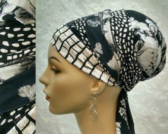 Gorgeous Black and off white sinar tichel, tichels, head wrap, head scarf, Jewish head covering, hair snood, chemo scarf, alopecia,