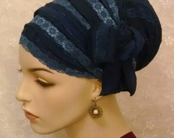 Blue beauty with moveable bow sinar tichel, head wrap, hair snood, head scarf, Jewish hair covering, head covering, holiday gift