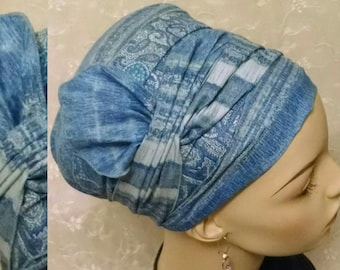 Blue beauty with half bow cotton sinar tichel, head scarf, Jewish hair covering, head wrap, hair snood, alopecia, chemo, cotton, blue