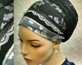 Touch of sparkle dressy sinar tichel, head scarf, hair snood, head wrap, Jewish hair covering, alopecia, black, Shabbat, weddings