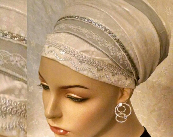 Featured listing image: Graceful Shabbos tichel in white with silver accents, sinar tichel, head scarf, hair snood, head wrap, Jewish hair covering, cotton, lace
