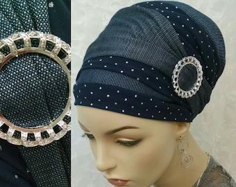 Stunning chic yet casual blue jean hued sinar tichels, tichels, head wrap, chemo scarf, head scarves, snood, alopecia, denim look