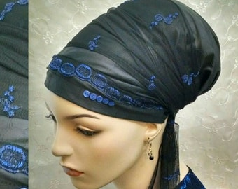 Elegant royal blue lace and leatherette sinar tichel, head wrap, hair snood, Jewish bridal shower, hair covering, head scarf, alopecia