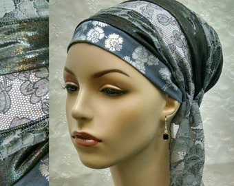 Chic grey sinar tichel, head scarf, accessories, Jewish hair covering, head wrap, hair snood, alopecia, grey, tichels, hair scarf,