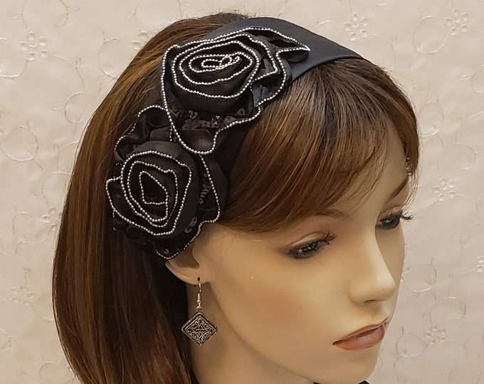 Featured listing image: Zippery satin flowers on textured leatherette headband, accessories, hair accessories, black headband, sequin head covering, gift for women