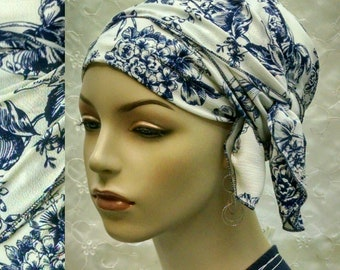 Blue floral wrap-twice sinar tichel, head wrap, hair snood, head covering, Jewish hair covering, alopecia, chemo, blue, head scarf