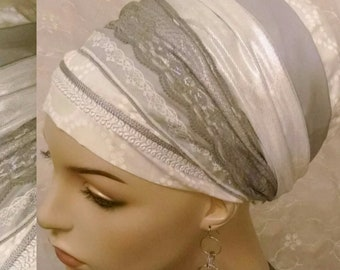 Graceful Shabbos sinar tichel, head wrap, apron head scarf, Jewish hair covering, hair snood, alopecia, cotton, lace, white, tichels
