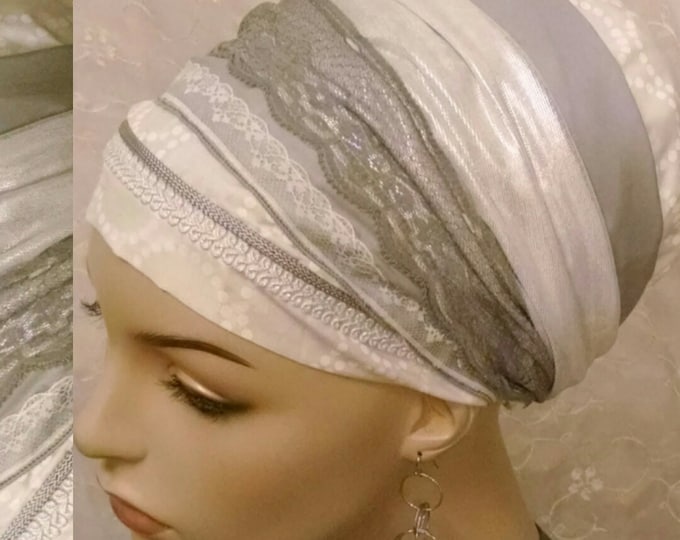 Featured listing image: Graceful Shabbos sinar tichel, head wrap, apron head scarf, Jewish hair covering, hair snood, alopecia, cotton, lace, white, tichels