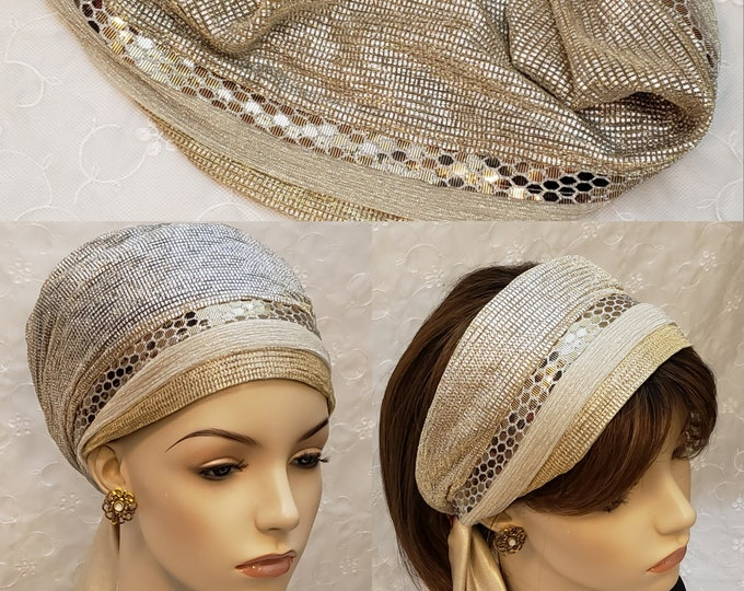 Featured listing image: Golden glow 'Tichel to headband', Jewish hair covering, accessories, hair accessories, wedding tichel, Womens headband, gold head covering