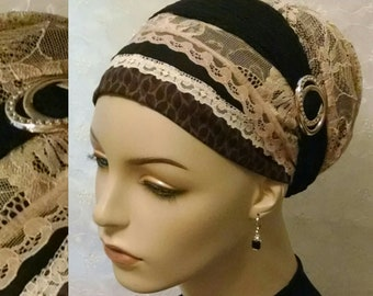 A touch of sparkle sinar tichel, tichels, head scarf, Jewish hair covering, head wrap, hair snood, alopecia, weddings, chemo, head covering