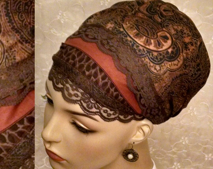 Featured listing image: Stunning rich browns and caramel cotton and lace sinar tichel, head wrap, hair snood, alopecia, chemo, head covering, Jewish hair scarf