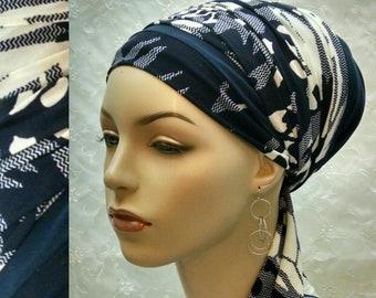 Beautiful blue sinar tichel, tichels, head scarf, wrap, covering, hair snood, Jewish, women, hair covering, alopecia, chemo, mitpachat