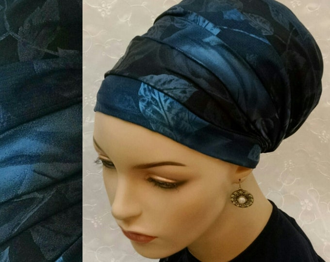 Featured listing image: Gorgeous blue floral sinar tichel, head wrap, head scarf, hair snood, Jewish head covering, apron tichel, chemo scarf, alopecia