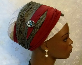 Burgundy (not red) and grey lace wrap twice sinar tichel, head scarf, head wrap, hair snood, Jewish hair covering, accessories, gift