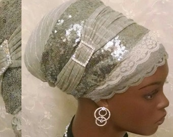 Silver sequined sinar tichel, head wrap, head scarf, hair snood, apron tichel, wedding head covering, gift, Jewish bridal shower, alopecia
