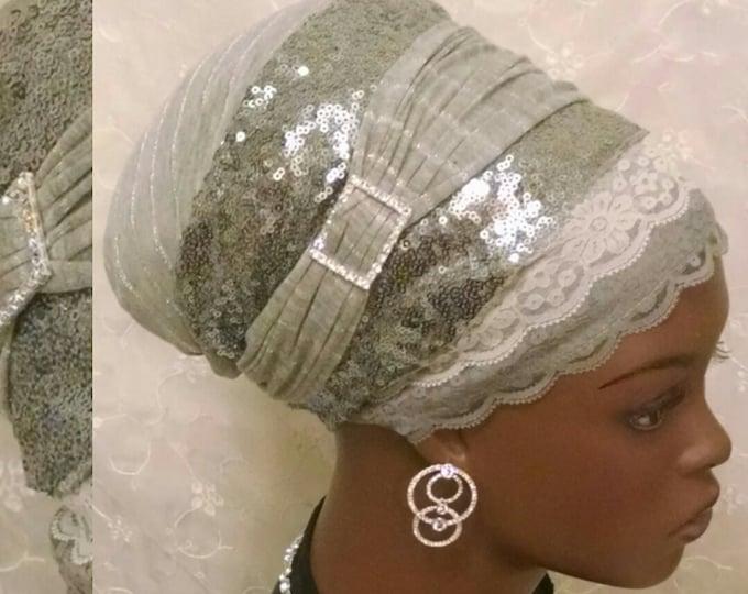 Featured listing image: Silver sequined sinar tichel, head wrap, head scarf, hair snood, apron tichel, wedding head covering, gift, Jewish bridal shower, alopecia