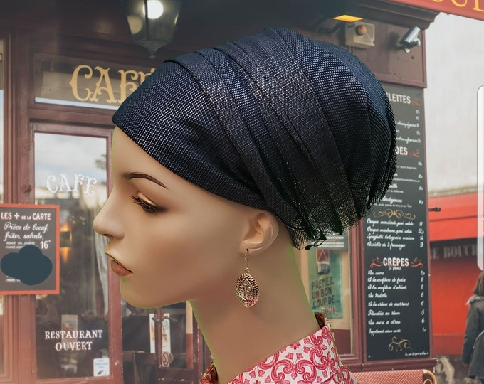 Featured listing image: Navy denim and silver thread stretchy sinar tichel, head wrap, chemo, head scarves, hair snood, snood, Jewish head covering, apron tichel