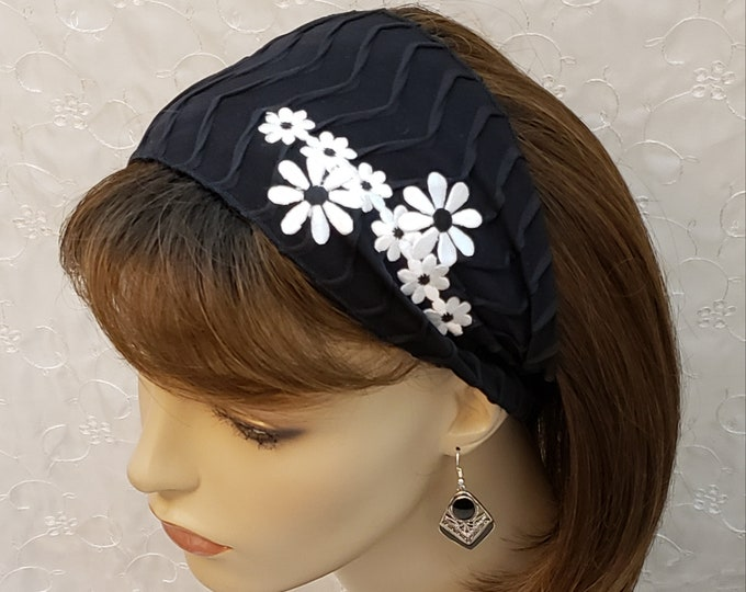 Featured listing image: Daisy delight adjustable headband, black and white, decorative headband, accessories, hair accessories, floral head covering, Jewish, gift