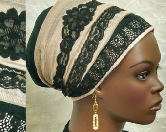 Elegant lace and cotton sinar tichel, head scarf, hair snood, Jewish hair covering, head wrap, head covering, alopecia, wedding, hair wrap