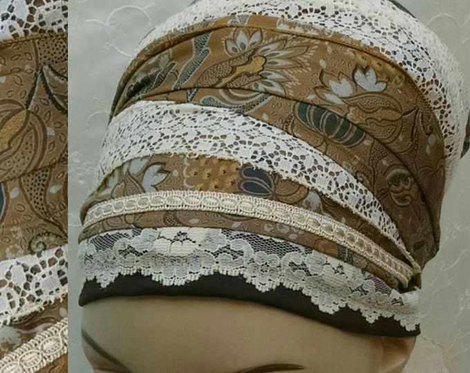 Featured listing image: Floral earthy cotton and lace sinar tichel, tichels, head scarf, chemo scarf, apron tichel, Jewish head covering, mitpachat, head wrap