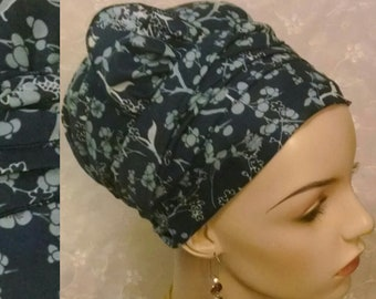 Teal floral sinar tichel with half bow, head scarf, head wrap, Jewish hair covering, religious bridal shower, gift, apron tichel, alopecia