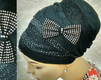 Dots cotton and lace sinar tichel, head wrap, hair snood, head scarf, Jewish hair covering, head covering, alopecia, cotton, chemo, lace