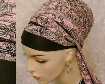 Soft pink and black lace sinar tichel, head wrap, hair snood, apron head scarf, Jewish hair covering, alopecia, Jewish bridal shower