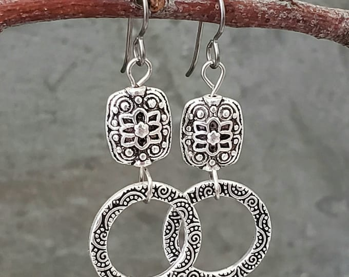 Featured listing image: Chic silver toned dangle earrings with rich baroque patterns hypoallergenic niobium ear wires, jewelry for women, gift for her, accessories