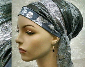 Chic grey sinar tichel, head scarf, accessories, Jewish hair covering, head wrap, hair snood, alopecia, grey, tichels, hair scarf,