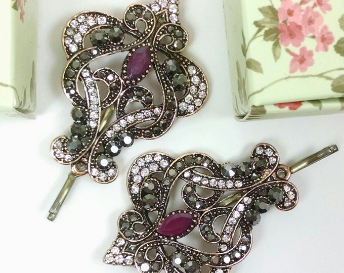 Featured listing image: Beautiful lights tichel and hair pin, vintage style, wedding hair pin, Decorative bobby pin, gift, hair accessories, head scarf pin, baroque