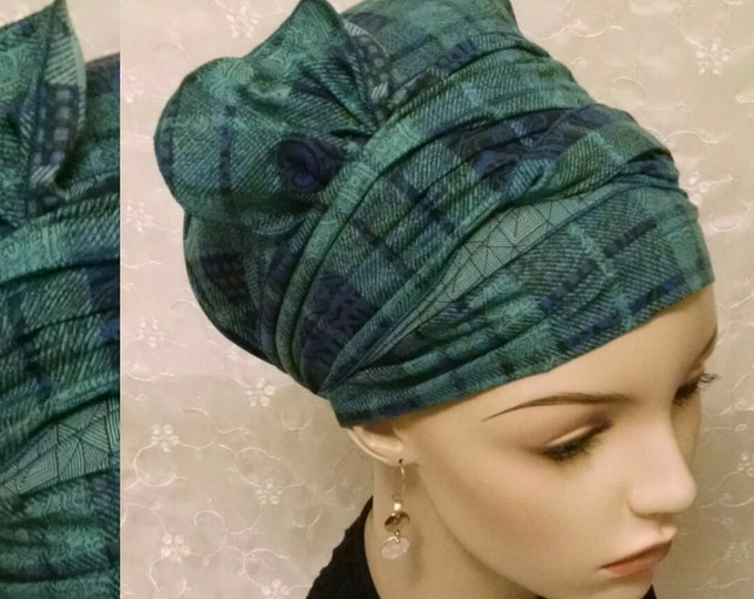 Featured listing image: Green blue plaid with half bow cotton sinar tichel, head scarf, head wrap, hair snood, Jewish hair covering, alopecia, chemo, apron tichel