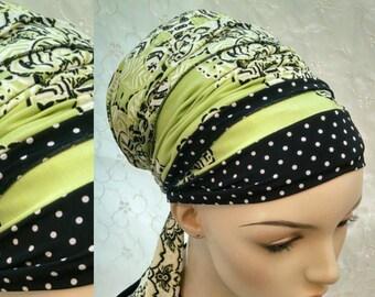 Stylish dot and floral sinar tichel, head wrap, head scarf, hair snood, Jewish head covering, apron tichel, chemo scarves, alopecia