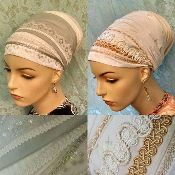 Save with two, silver and gold Shabbos kodesh sinar tichels, head wrap, apron tichel, head scarf, hair scarf, Jewish hair covering, Shabbat