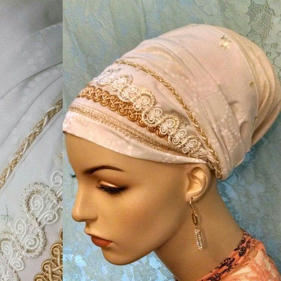 Shabbos kodesh gold tichel, tichels, sinar tichel, head wrap, head scarf, Jewish hair covering, hair snood, chemo scarf, lace