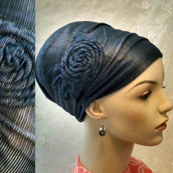 Navy rosette stretch denim sinar tichel, tichels, head scarf, head wrap, Jewish hair covering, hair snood, chemo scarves, mitpachat