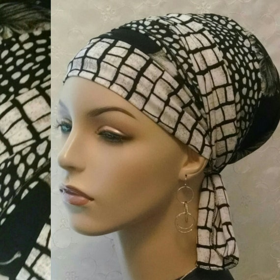 Neutral black and off white go to sinar tichel, head wrap, head scarf, Jewish hair covering, hair snood, head covering, chemo scarf