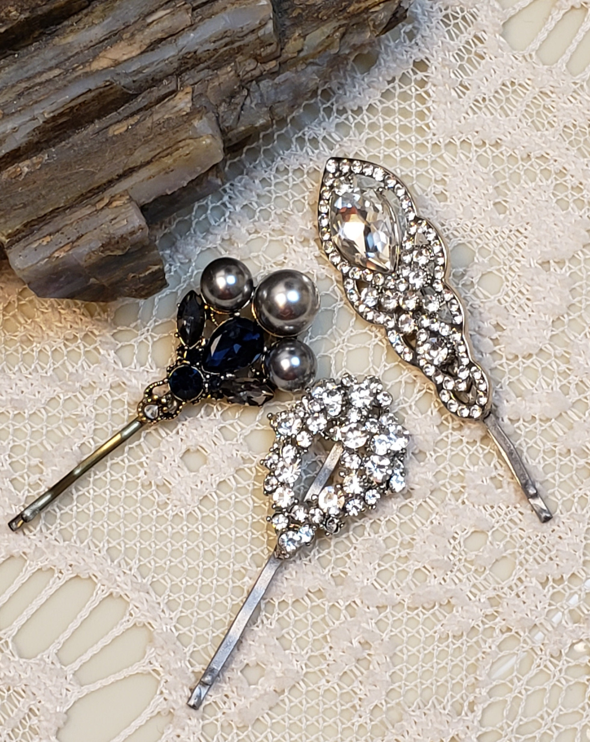 Trio dressy decorative tichel/hair pins, wedding hair pin