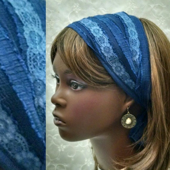 Blue boho headband, hair accessories, hair decorations,